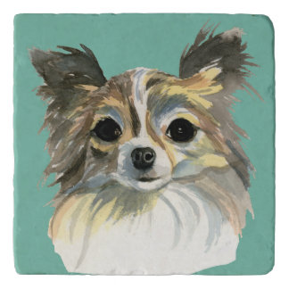 Long Hair Chihuahua Watercolor Portrait Trivet