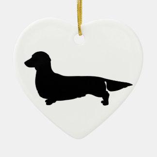Long Hair Dachshund Heart Ornament
