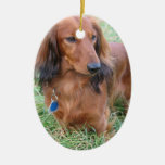 Long Hair Dachshund Ornament