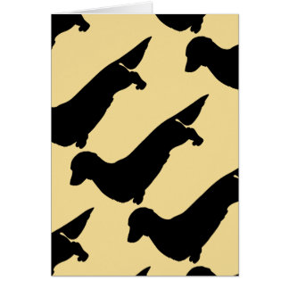 Long Hair Dachshund Pattern Greeting Card