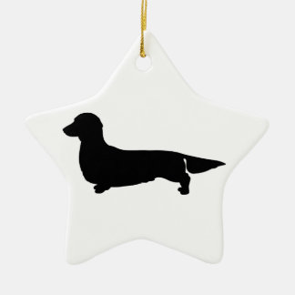 Long Hair Dachshund Star Ornament