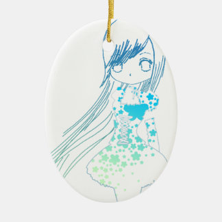 Long Hair Girl Ceramic Oval Decoration