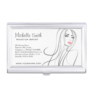 Long Hair hairdresser make up artist  branding Business Card Holder