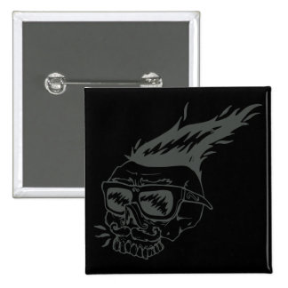 Long Hair Skull With Sunglasses 15 Cm Square Badge