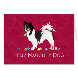 Long-haired Chihuahua Christmas Design Greeting Card