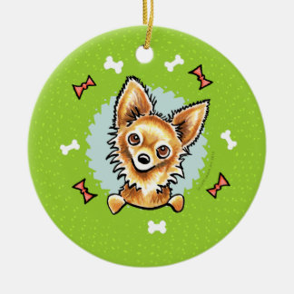 Long Haired Chihuahua Christmas Wreath Christmas Ornament
