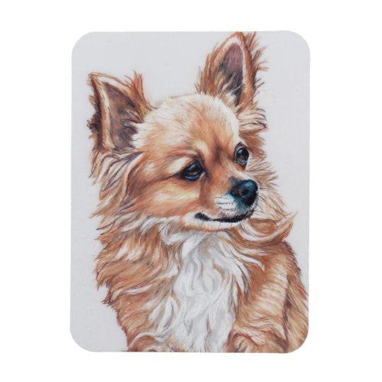 Long Haired Chihuahua Dog Art Magnet