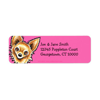 Long Haired Chihuahua Hot Pink Return Address Label