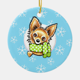 Long Haired Chihuahua Let it Snow Round Ceramic Decoration