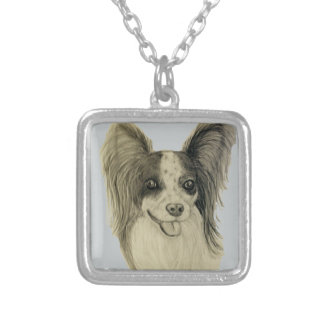 Long Haired Chihuahua-Pomeranian original artwork Silver Plated Necklace