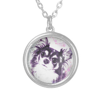 Long Haired Chihuahua Round Pendant Necklace