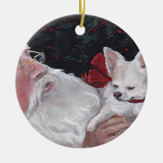 Long Haired Chihuahua& Santa Dog Art Ornament