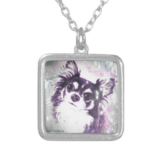 Long Haired Chihuahua Square Pendant Necklace