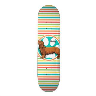 Long-haired Dachshund; Bright Rainbow Stripes 21.3 Cm Mini Skateboard Deck