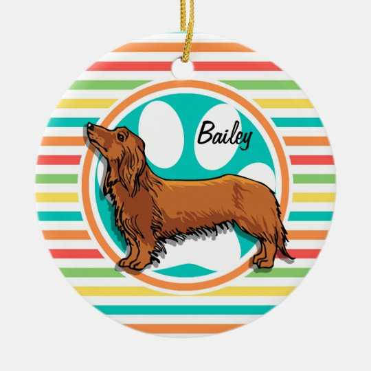 Long-haired Dachshund; Bright Rainbow Stripes Christmas Ornament