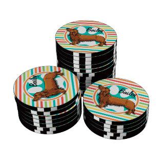 Long-haired Dachshund; Bright Rainbow Stripes Poker Chips Set