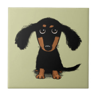 Long Haired Dachshund Puppy Tile