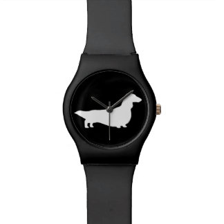 Long Haired Dachshund Silhouette Wristwatch