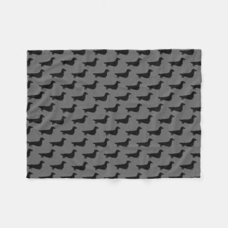 Long Haired Dachshund Silhouettes Pattern Fleece Blanket