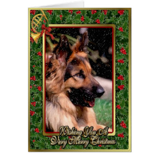 Long Haired German Shepherd Dog Christmas Card