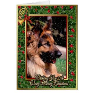 Long Haired German Shepherd Dog Christmas Card