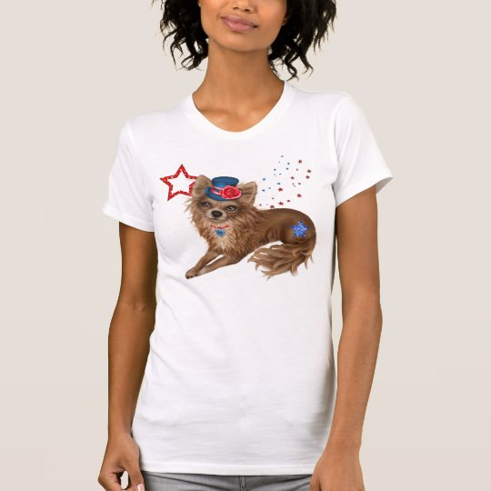 Long Haired Patriotic Chihuahua T-Shirt