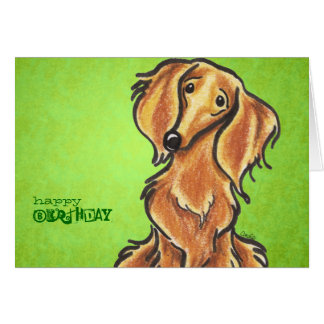 Long Haired Red Dachshund Birthday Custom Card