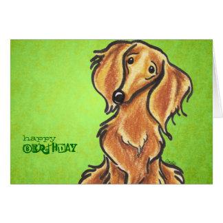 Long Haired Red Dachshund Birthday Custom Greeting Card