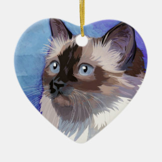 Long-haired Siamese Himalayan Cat Christmas Ornament