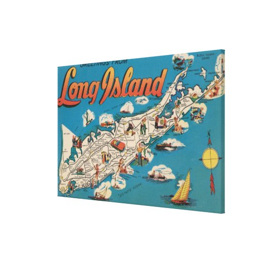 Long Island, New York - Greetings From Gallery Wrapped Canvas