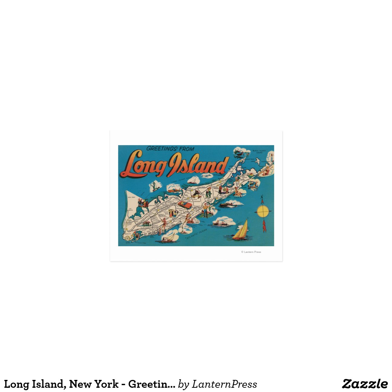 Long island new york greetings from postcard zazzle for Custom t shirts long island ny