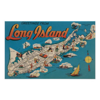 Long Island, New York - Greetings From Poster