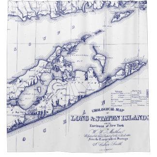 Long Island The Hamptons Map VC Shower Curtain