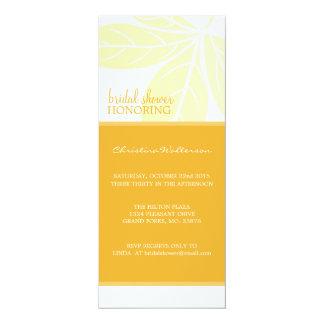 "Long Modern Elegant Golden Glow Bridal Shower 4"" X 9.25"" Invitation Card"