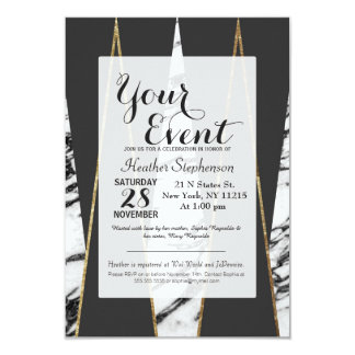 Long Modern Marble Black and Gold Triangles 9 Cm X 13 Cm Invitation Card