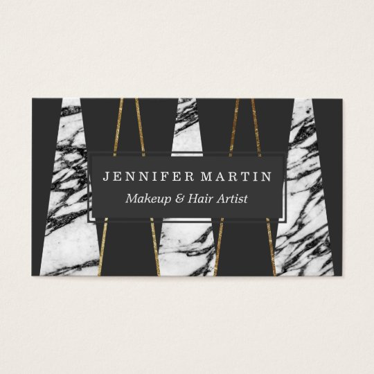 Long Modern Marble Black and Gold Triangles Business