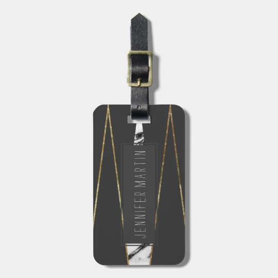 Long Modern Marble Black and Gold Triangles Luggage
