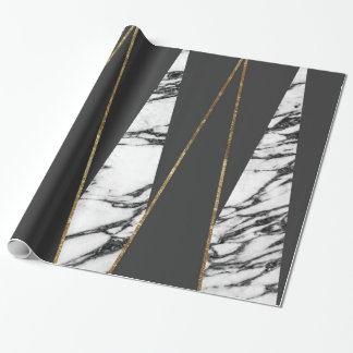 Long Modern Marble Black and Gold Triangles Wrapping Paper