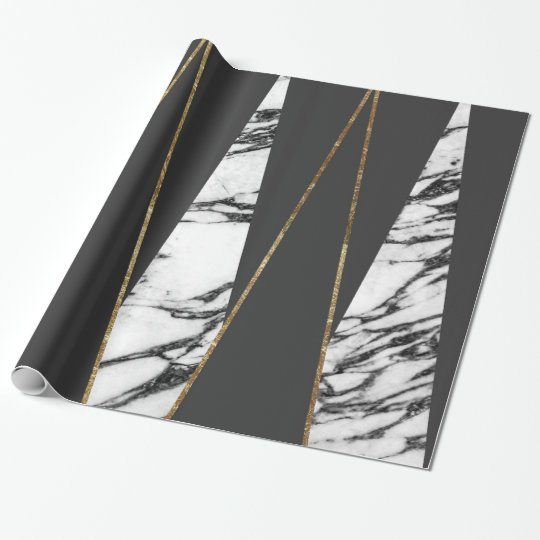 long modern marble black and gold triangles wrapping paper. Black Bedroom Furniture Sets. Home Design Ideas