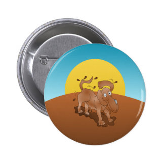 Long nosed dog shaking off the muck 6 cm round badge