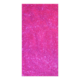 Long Pink Sparkly Glitter Photo Card Customizable