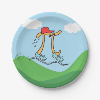 Long Running Pi - Funny Pi Guy Party Supplies 7 Inch Paper Plate