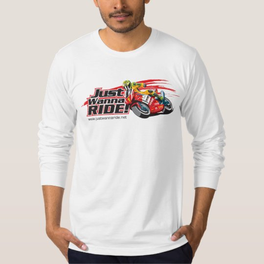Long Sleeve JustWannaRide Tee(white) T-Shirt