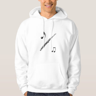 Long Sleeve White Hoodie w Flute and Muscial Notes