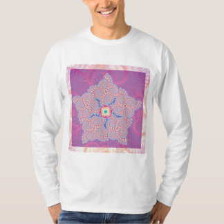 Long Sleeved T-Shirt - Purple Star Fractal Pattern