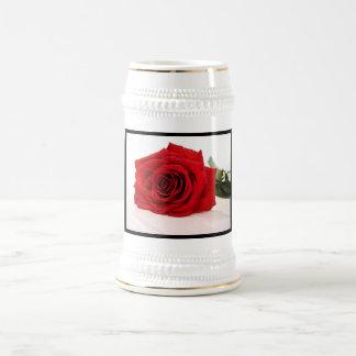 Long Stem Red Rose Beer Stein