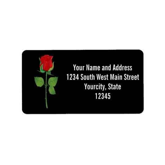Long Stem Red Rose Label