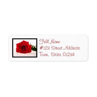 Long Stem Red Rose Mailing Label Return Address Label