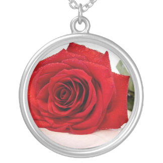 Long Stem Red Rose Necklace