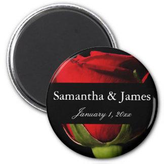 Long Stem Red Rose Personal Wedding Magnet